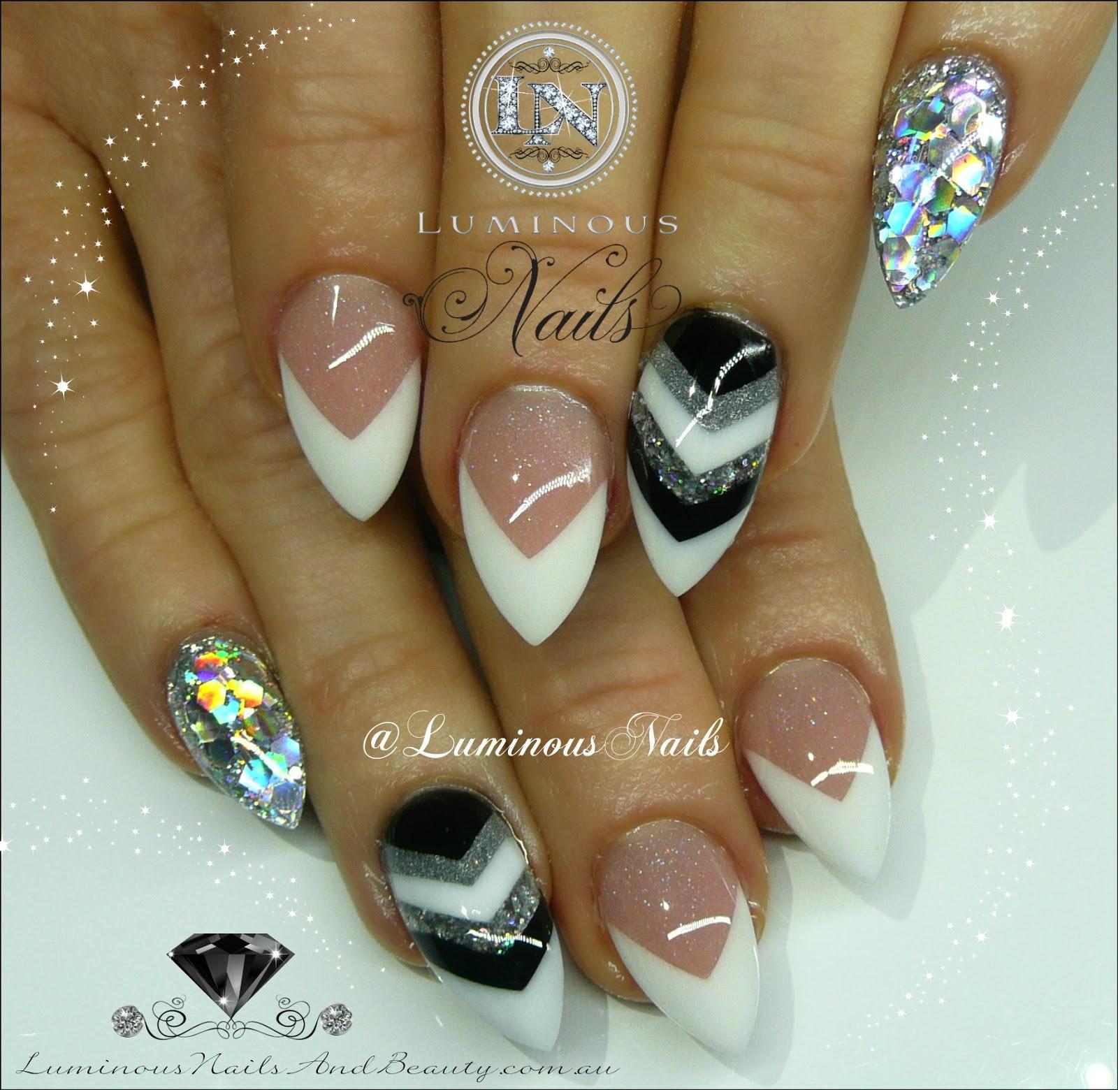 Luminous nails white black amp silver nails