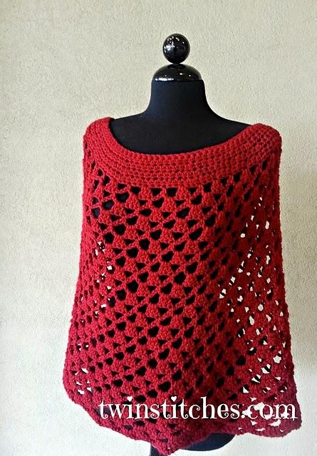 free crochet pattern lacey trellis spiral poncho