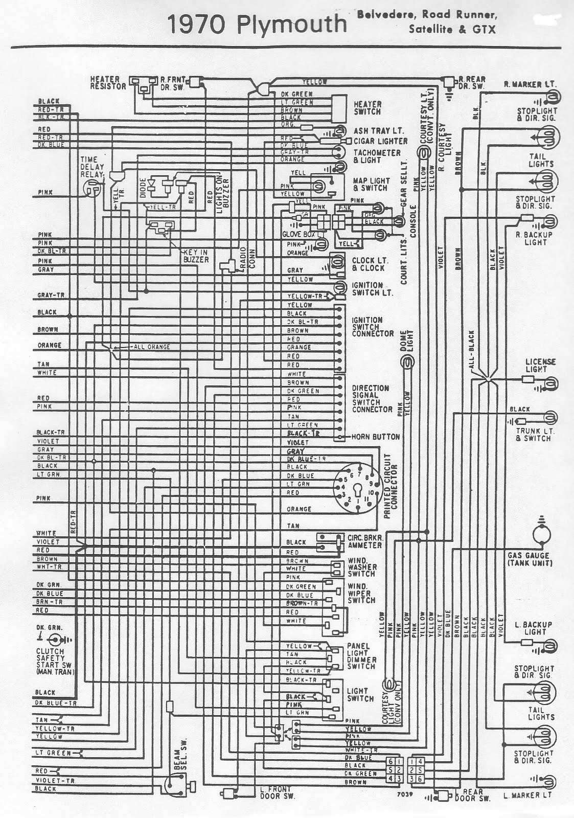 1970 plymouth road runner wiring diagram color wiring