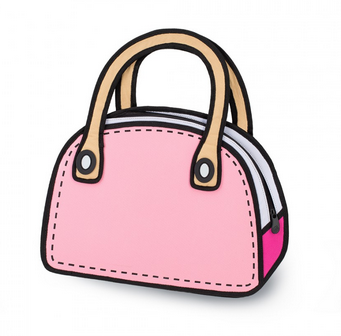 Pink Cartoon Handbag JumpFromPaper 2D Fashion