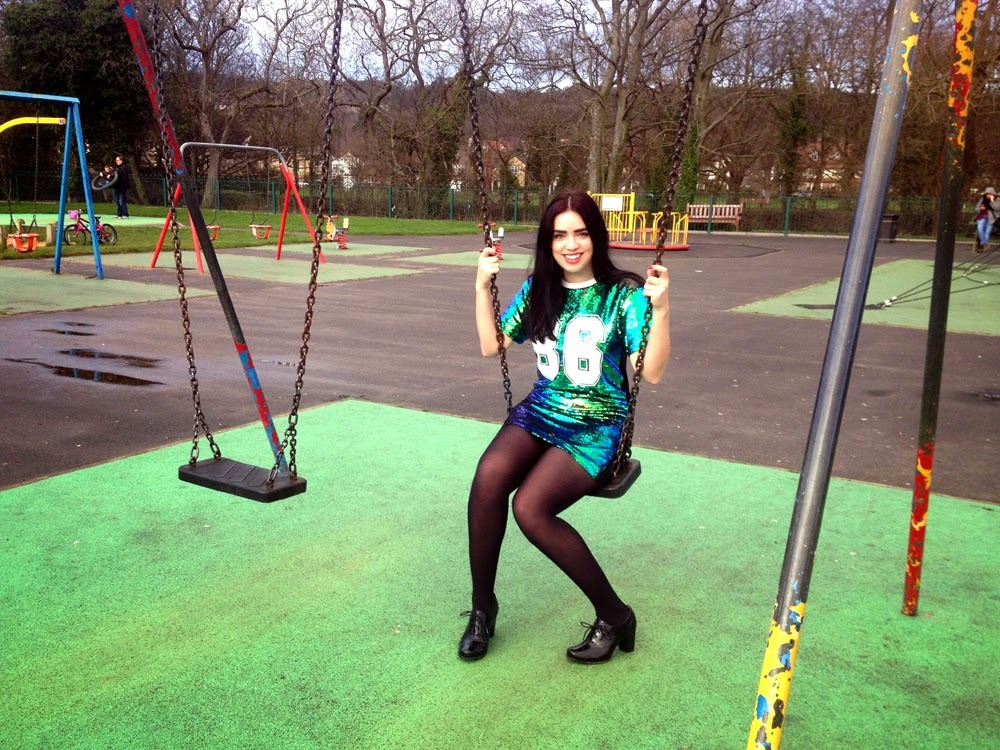 London fashion blogger Emma Louise Layla in green sequin Boohoo dress