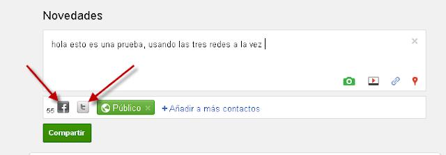 Google Plus con Facebook y Twitter