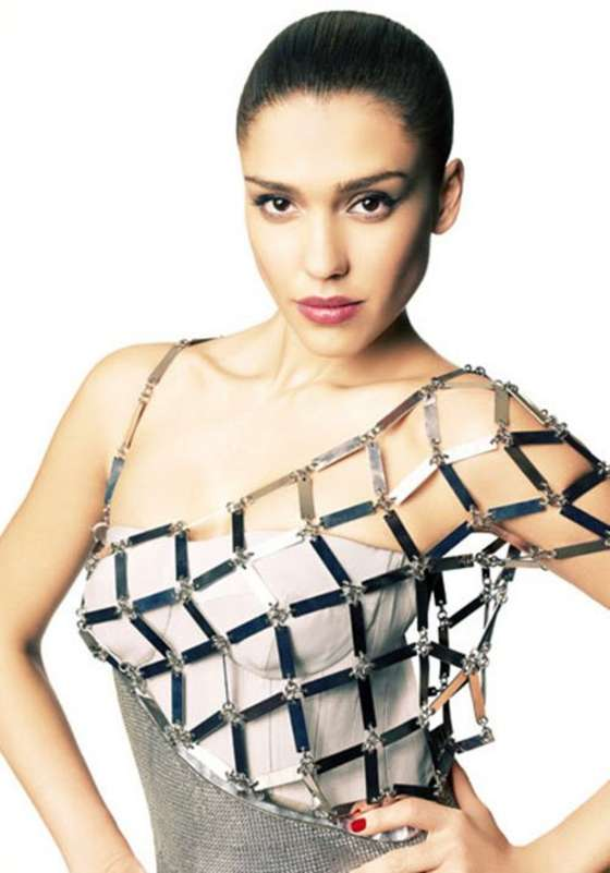 Jessica Alba futuristic steel dress -  Jessica Alba (JUNE 2012) brand new PICS