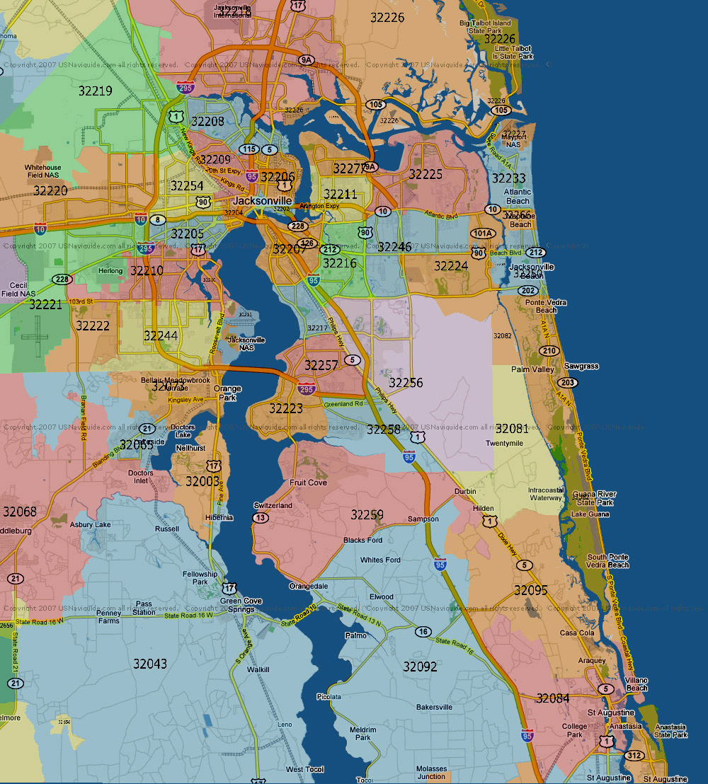 jacksonville florida map with zip codes