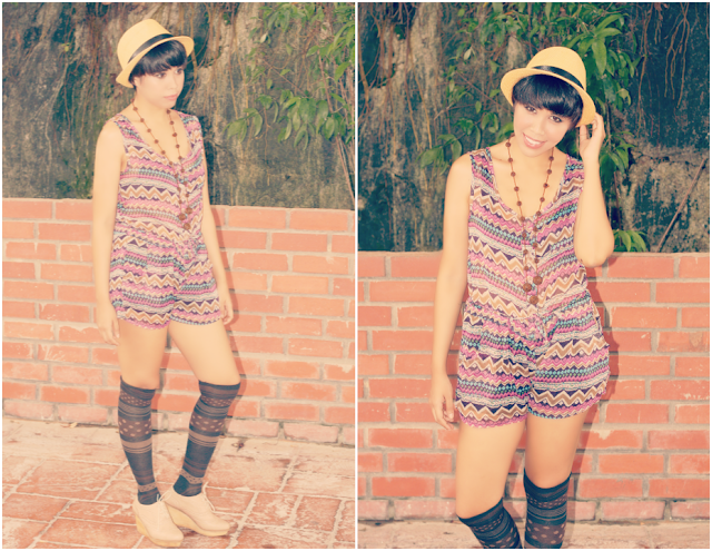 bohemian,romper,aztec print, chiffon, outfit of the day,boho, vicnity
