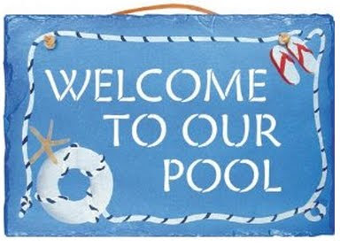 KimsCrafts Handmade Slate Pool Welcome Sign, Swimming Pool Decor