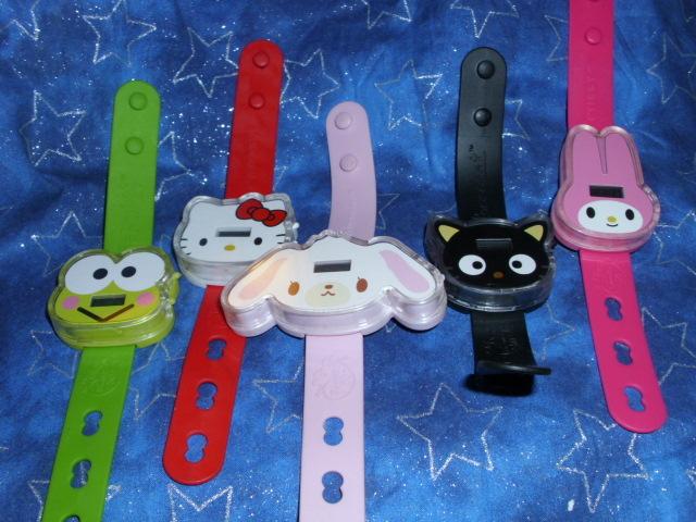 lot of 5 watches, hello kitty, chococat, my melody, sugarbunnies, keroppi cute~!
