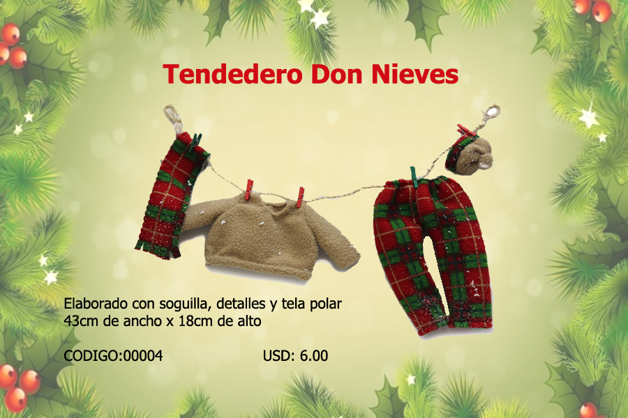 Tendedero Don Nieves, ideal para colgar en tu arbolito.