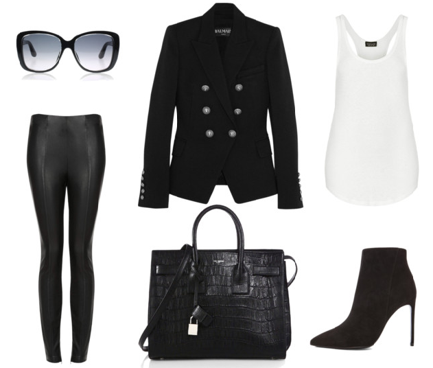 Fall Wanties - Balmain blazer - Topshop leather pants - white racer back vest - saint laurent sac du jour tote - saint laurent ankle boots - dior sunglasses