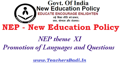 NEP,New Education Policy theme,Promotion of Languages and Questions