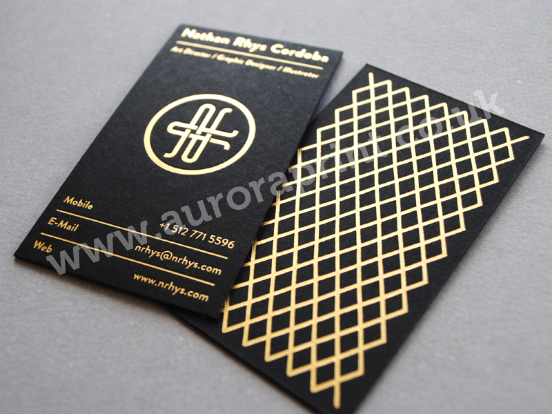 Nathan rhys cordoba gold foil business cards hot foil business nathan rhys cordoba gold foil business cards reheart Image collections