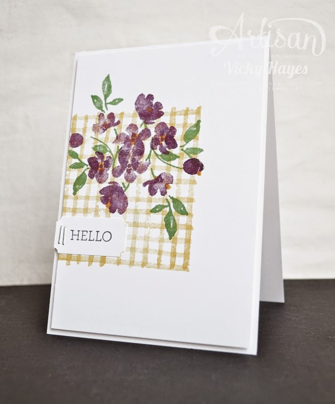 UK Stampin' Up demonstrator Vicky Hayes shows how to make gingham using a line stamp from Painted Petals