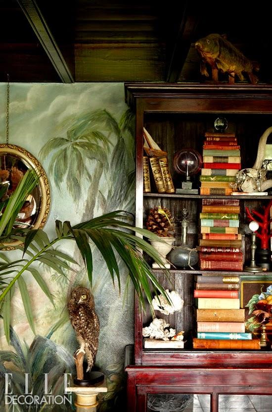 Tapete mit Landschaft als stilbildende Einrichtung im Farmhaus