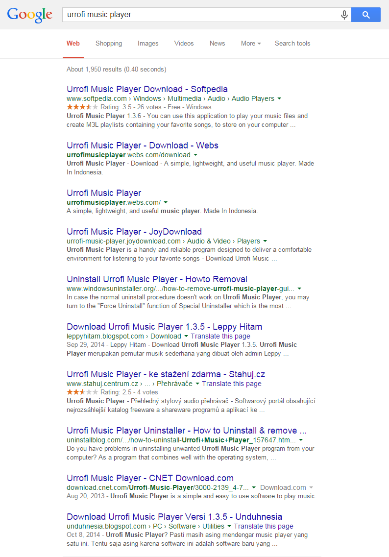 Search results on page one