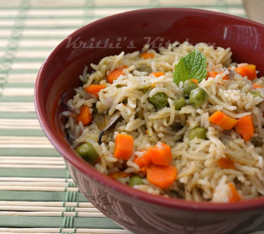 Krithi's Kitchen: Easy Vegetable Pulao | Pressure cooker Pulao