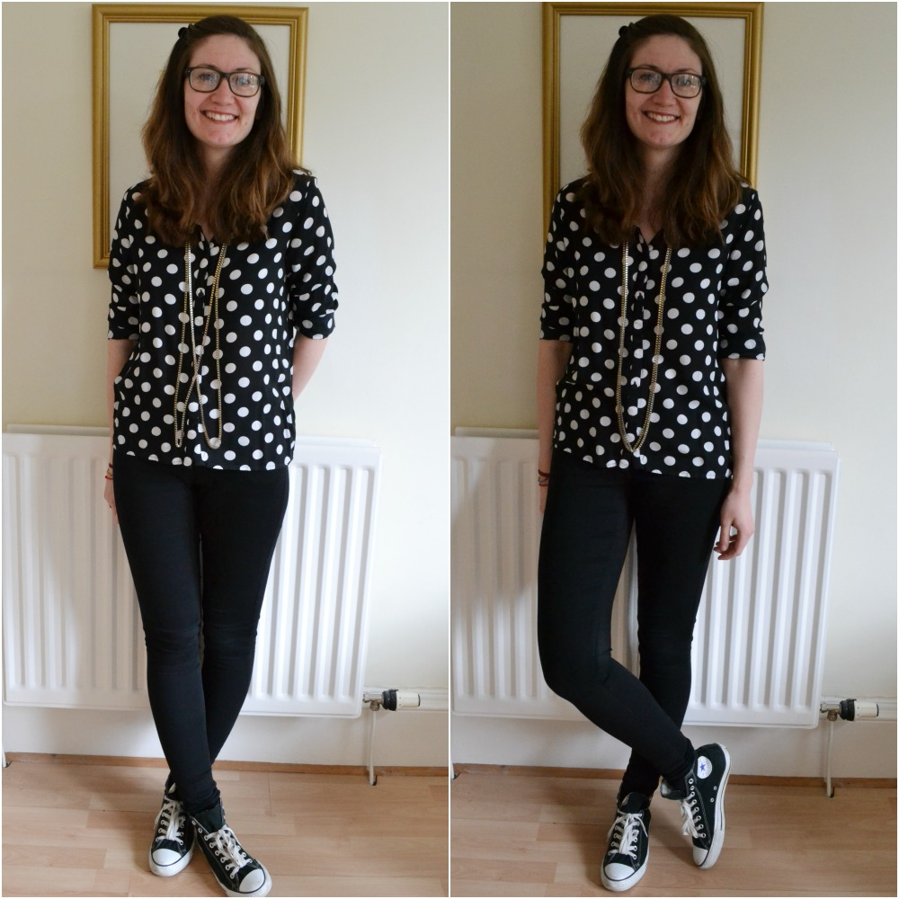 polka dot shirt H&M long tall sally skinny jeans black white converse