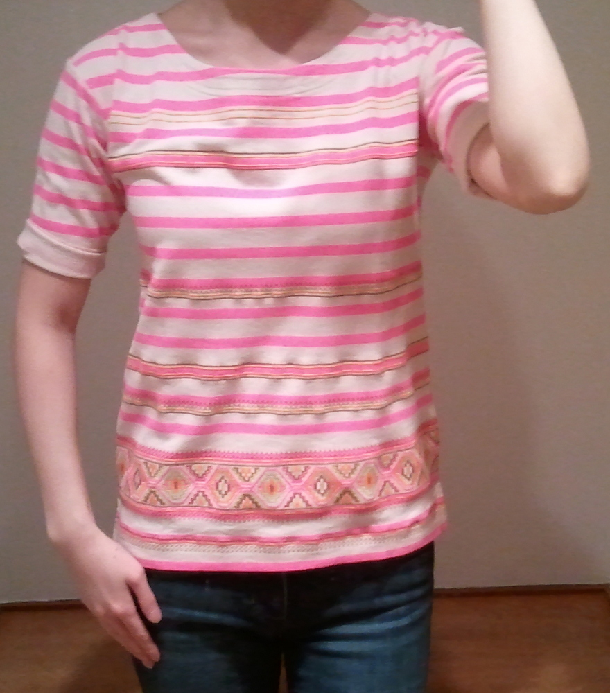 J.Crew Stitchwork Stripe Top in Neon Azalea