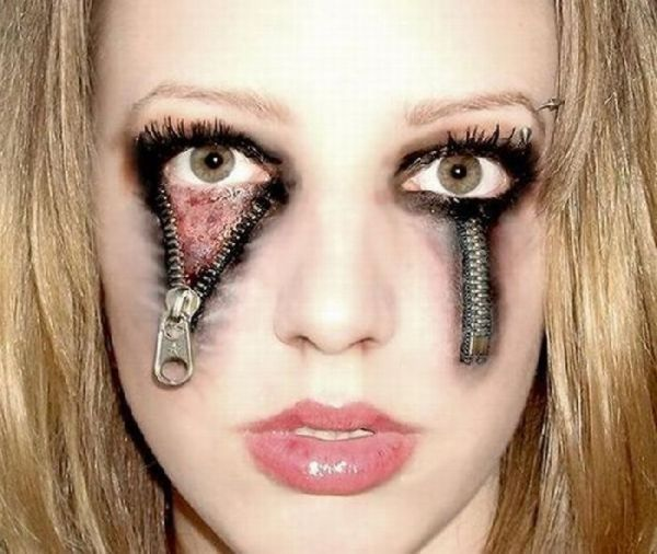 Costumaniacs: Zipper Eyes Halloween Makeup - Cool Halloween Makeup For Girls
