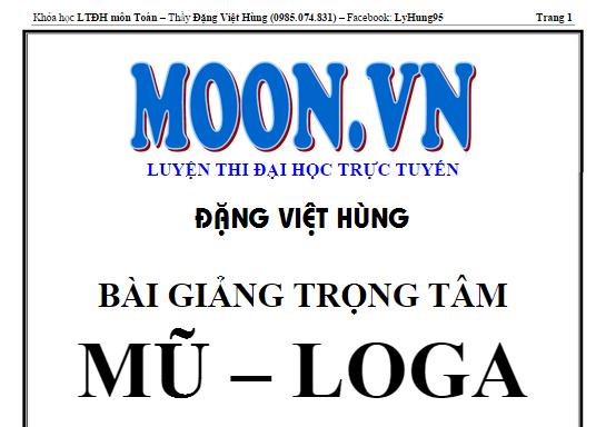 Bài giảng trọng tâm mũ và logarit-Đặng Việt Hùng