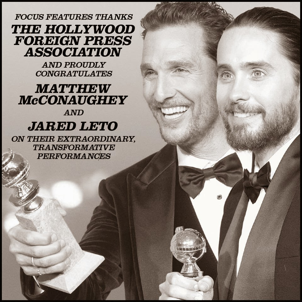71st golden globe awards matthew mcconaughey jared leto