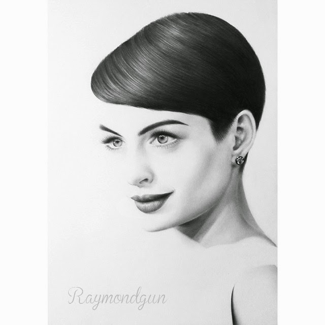 04-Anne-Hathaway-Raymond-Gunawan-Minimalist-Celebrity-Drawings-mostly-Black-and-White-www-designstack-co