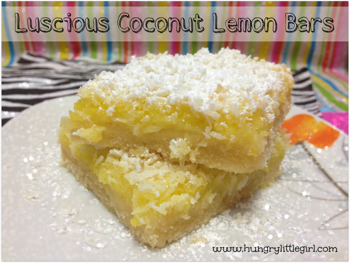 Luscious Coconut Lemon Bars from Hungry Little Girl