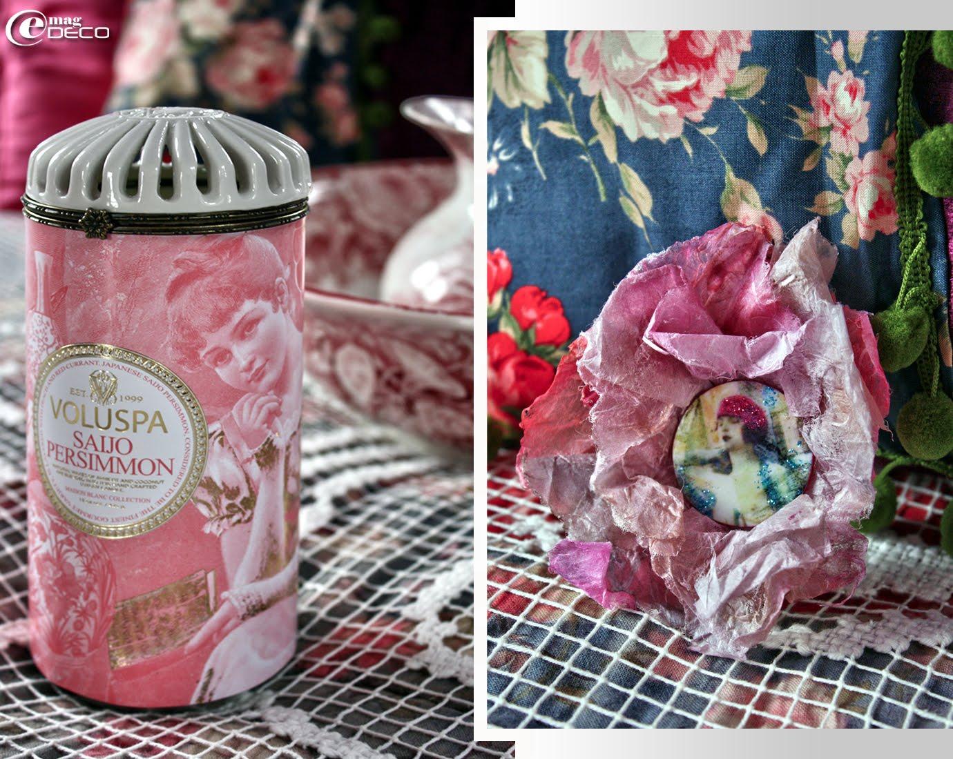 Bougie parfumée Voluspa en céramique et broche-bijou de cheveux de la collection Couleur Bohème, création Fibuline au pays des Lunes...