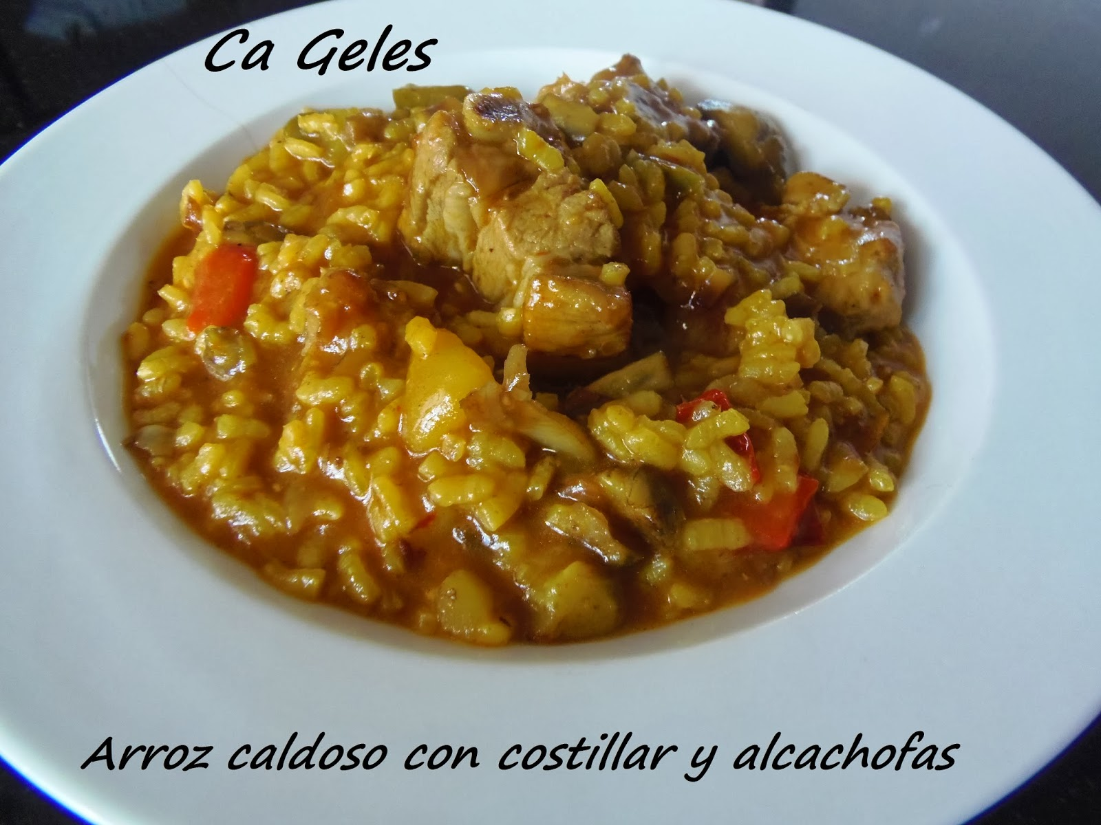 Arroz caldoso con costillar y alcachofas - Arroz caldoso con costillas y alcachofas ...