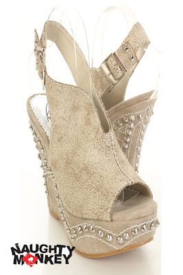 Cream Leather Pyramid Studded Stitched Slingback Peep Toe Wedges