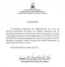 Secult prorroga para dia 30 setembro prazo final das inscrições de Projetos Culturais no FUMINC