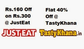 JustEat December Offer – Rs.160 off on Rs.300, Flat 40% off on Tastykhana