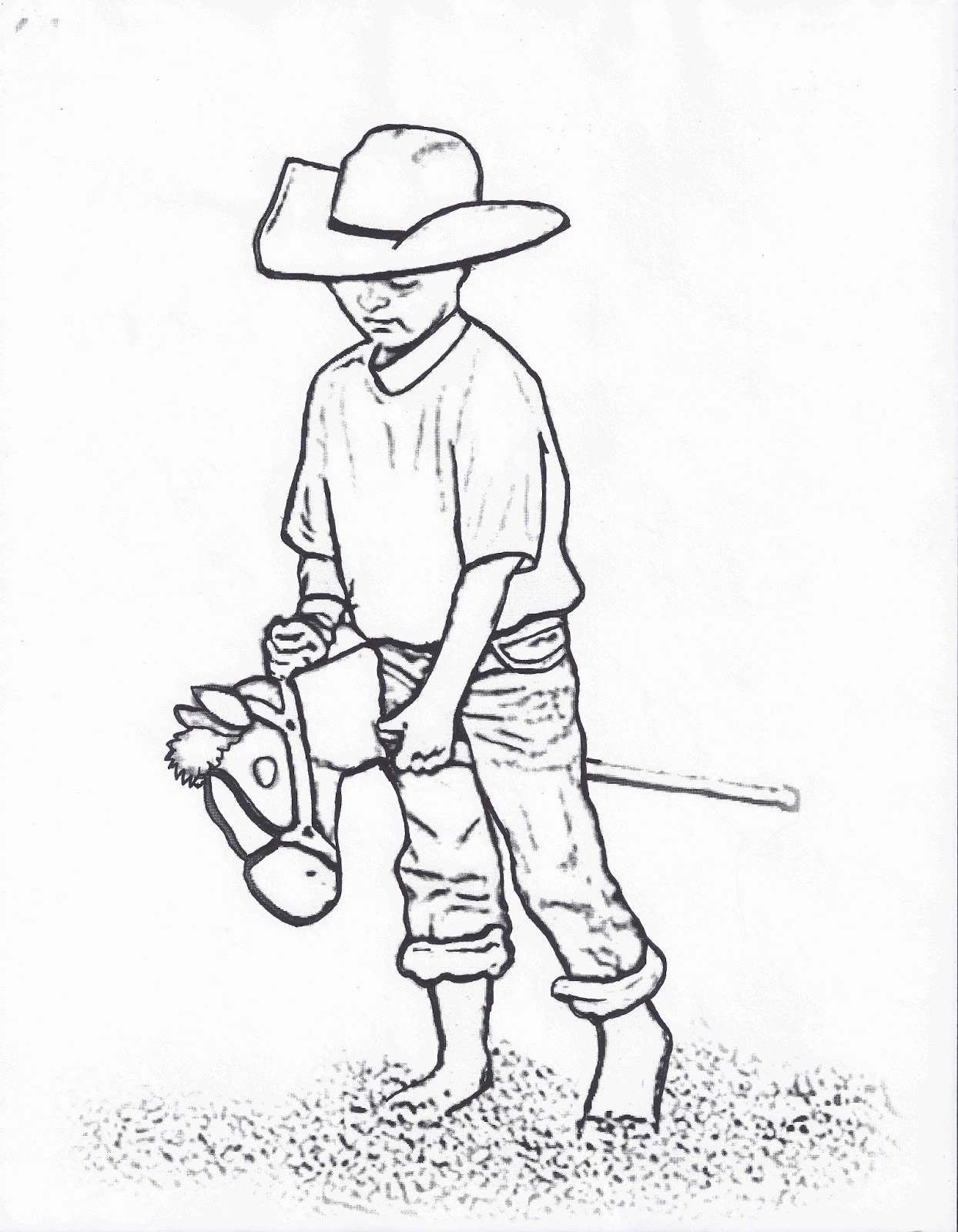 Rodeo Coloring Pages Little Cowboy On Stick Horse Color