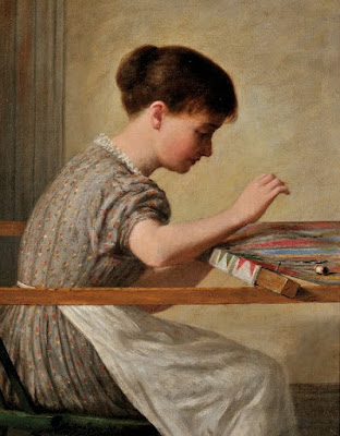 Girl Quilting by Enoch Wood Perry, Jr.