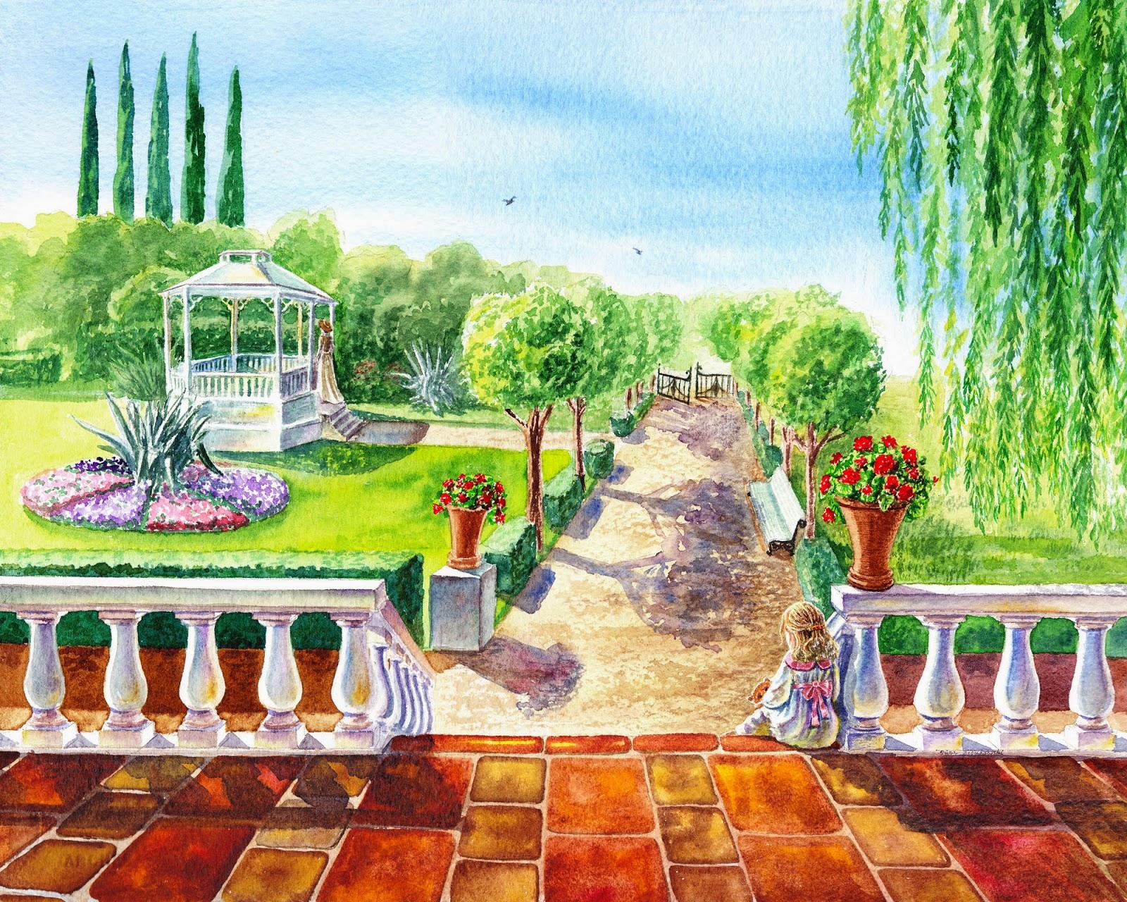 realism in watercolor gazebo