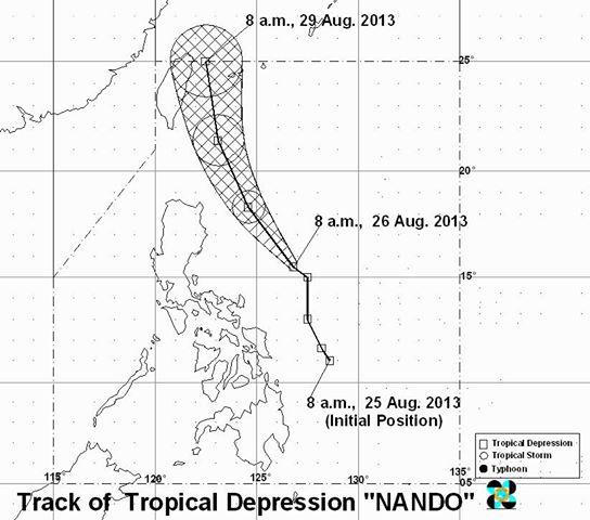 Typhoon Nando PAGASA weather forecast August 26, 2013