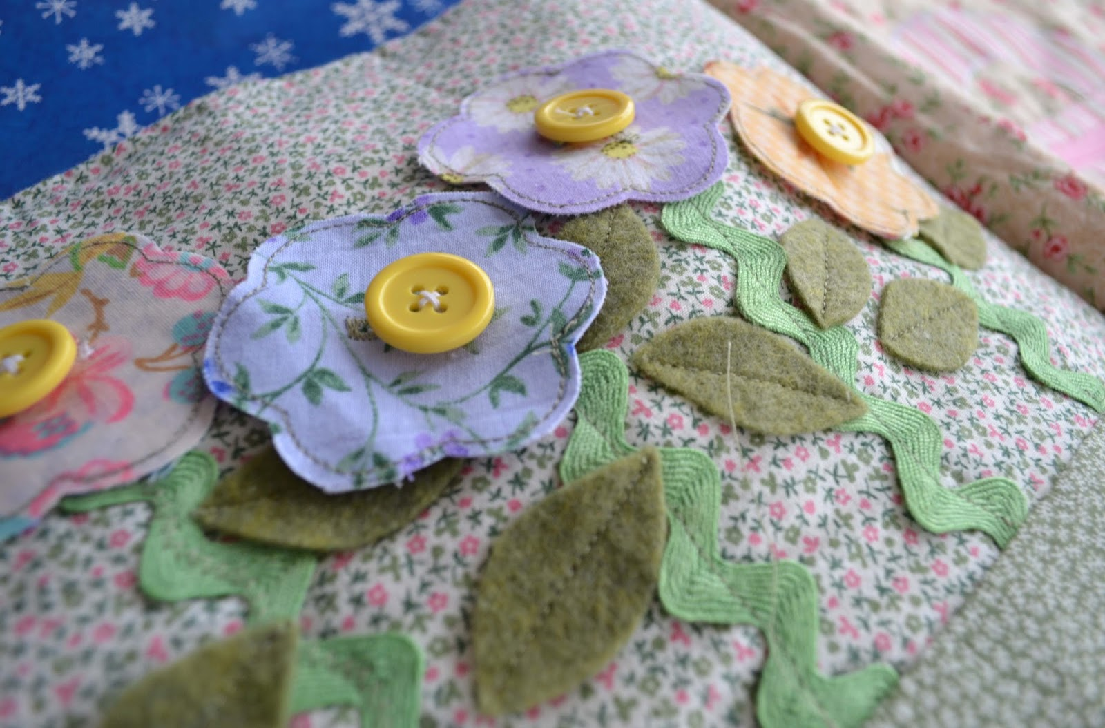fabric button flowers quiet book page