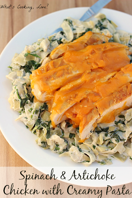 http://whatscookinglove.com/2014/02/spinach-artichoke-chicken-with-creamy-pasta/