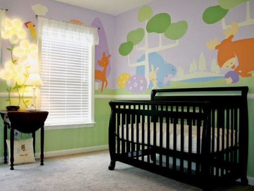 modern baby nursery decor with mural