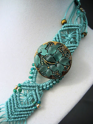 Czech glass button closure with beaded macrame look