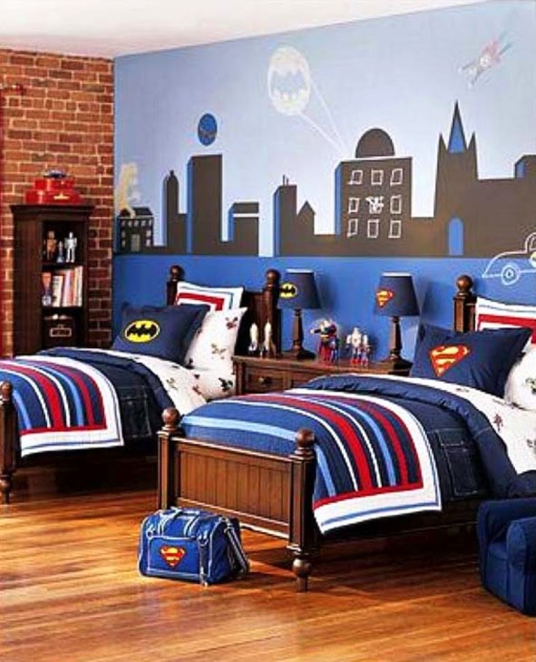 Themed kids bedroom design superhero nunudesign for Boys room wall mural