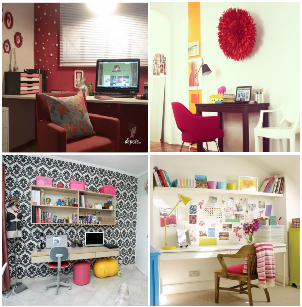 Exemplos de 4 home offices femininos