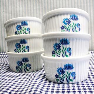Petit pot/ramequins fleurs bleues & vertes - Années 70
