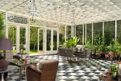 solarium sun room with sunny plants patio in pacific heights luxury mansion home in san francisco