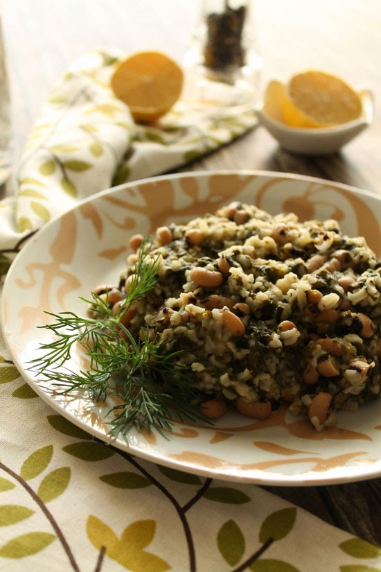 Black eyed peas with spinach and rice