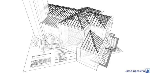 Jarne ingenier a estructura de cubierta iglesia de rasal - Estructura de madera para cubierta ...