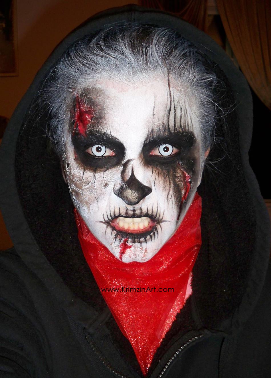 Krimzin Art: Burnt Zombie (Halloween Makeup) 5/27/13
