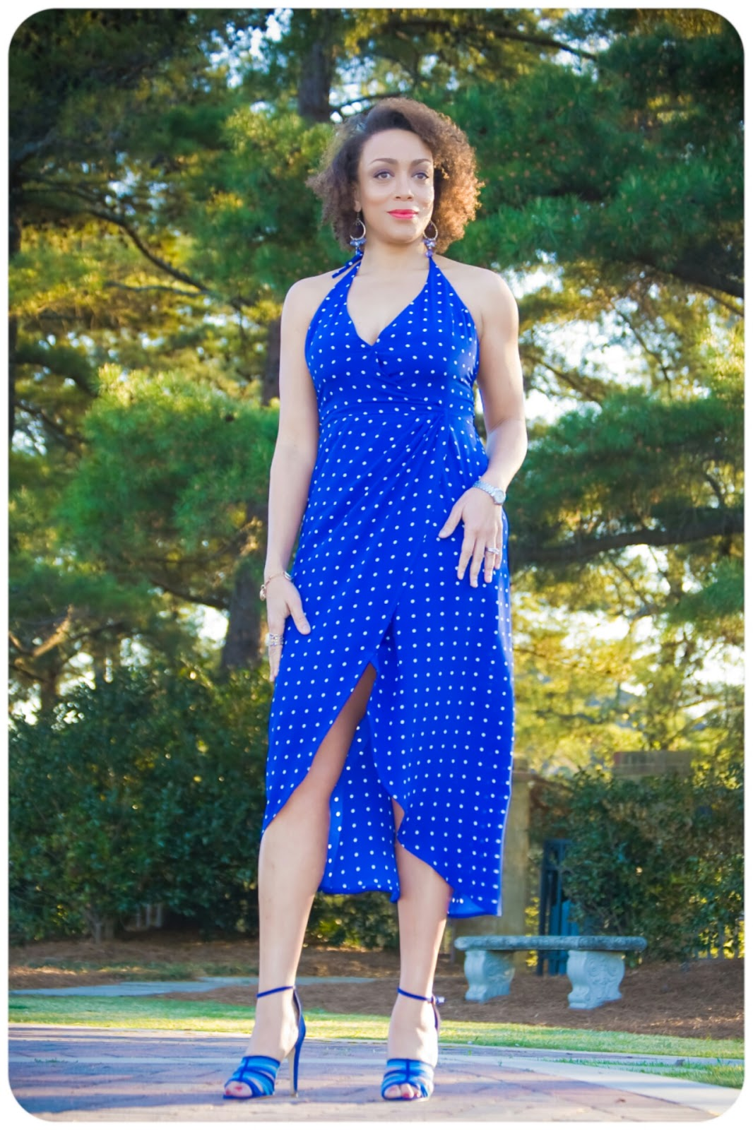 Erica B's DIY Style: Vtg Simplicity 9704 Halter Wrap Dress made in Ralph Lauren Polka Dot Silk Crepe from Mood Fabrics.com