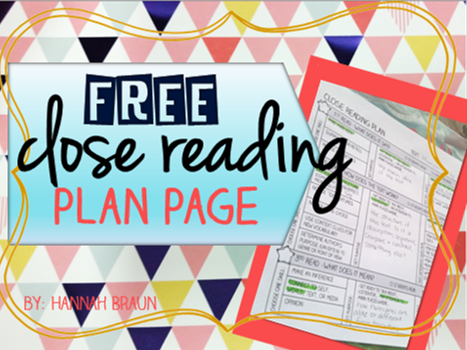 FREE close reading plan page for any text