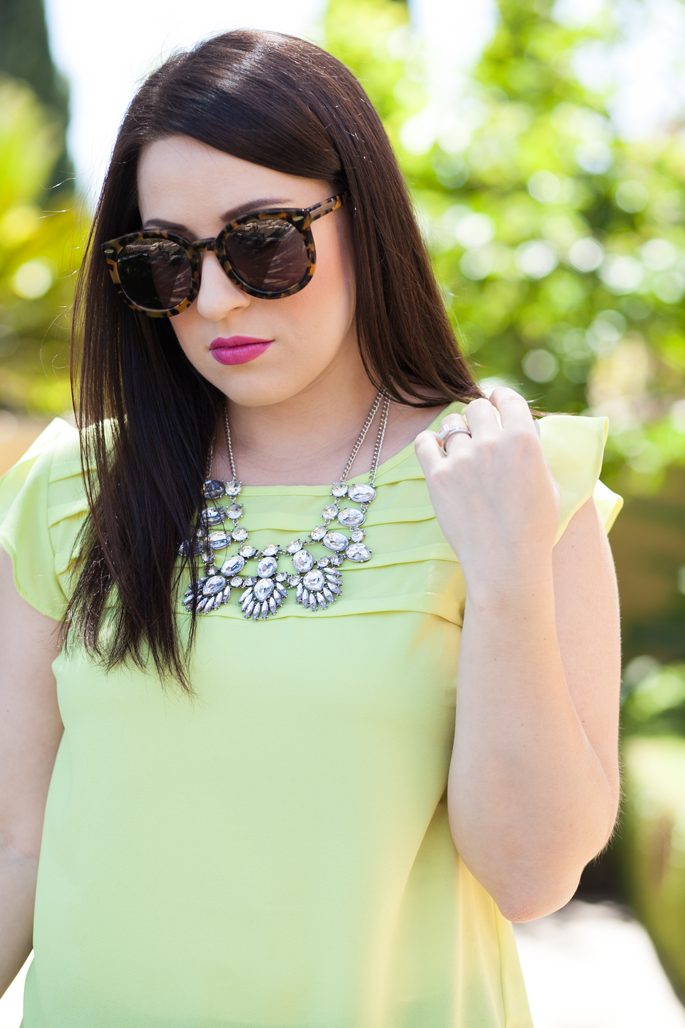le tote neon top, le tote statement necklace, mac girl about town, karen walker sunglasses