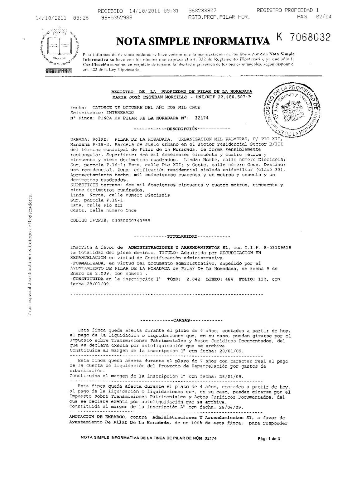 El rinc n del sueko la nota simple qu es - Solicitar nota simple registro propiedad gratis ...